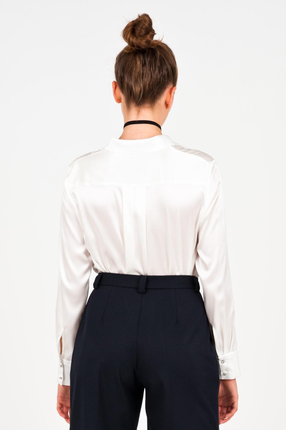 elegancka kremowa jedwabna koszula