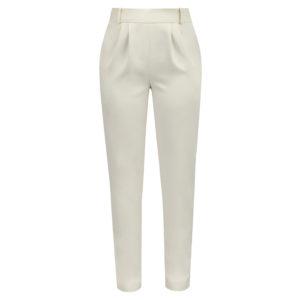 spodnie z wysokim stanem kremowe chic