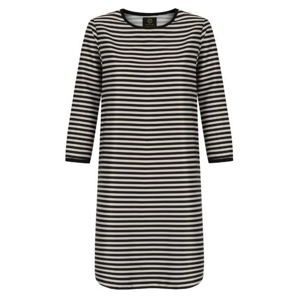 sukienka w biało czarne paski
