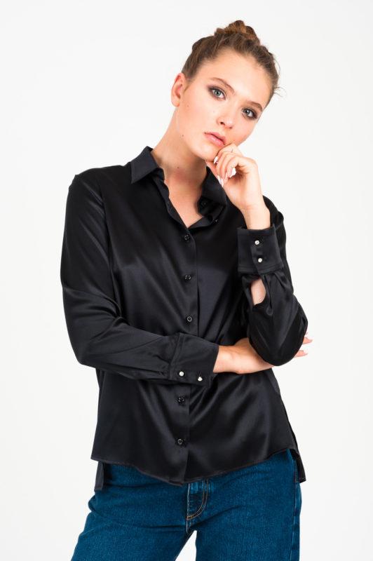czarna jedwabna koszula