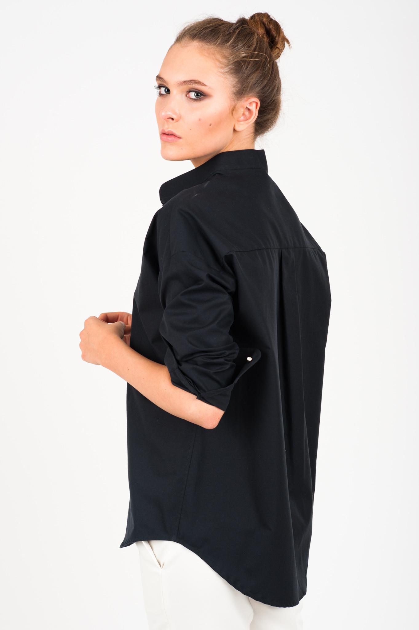 7458d11dd479ce czarna koszula ze stójką Vero, damska, o klasycznym i luźnym kroju