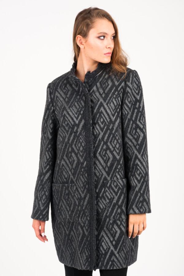 wełniany grafitowy płaszcz