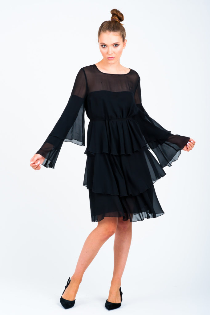 jedwabna czarna sukienka