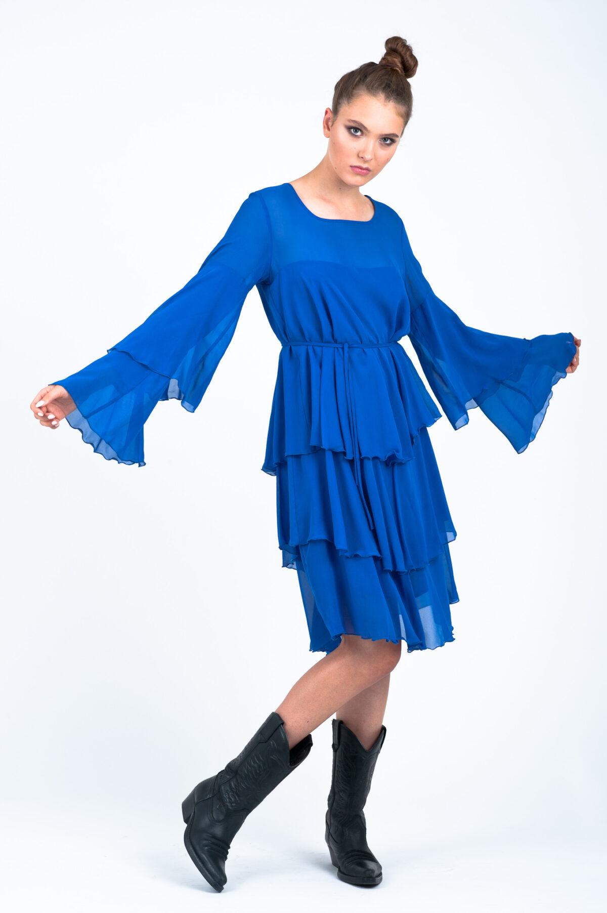 jedwabna sukienka yasmine noebieska