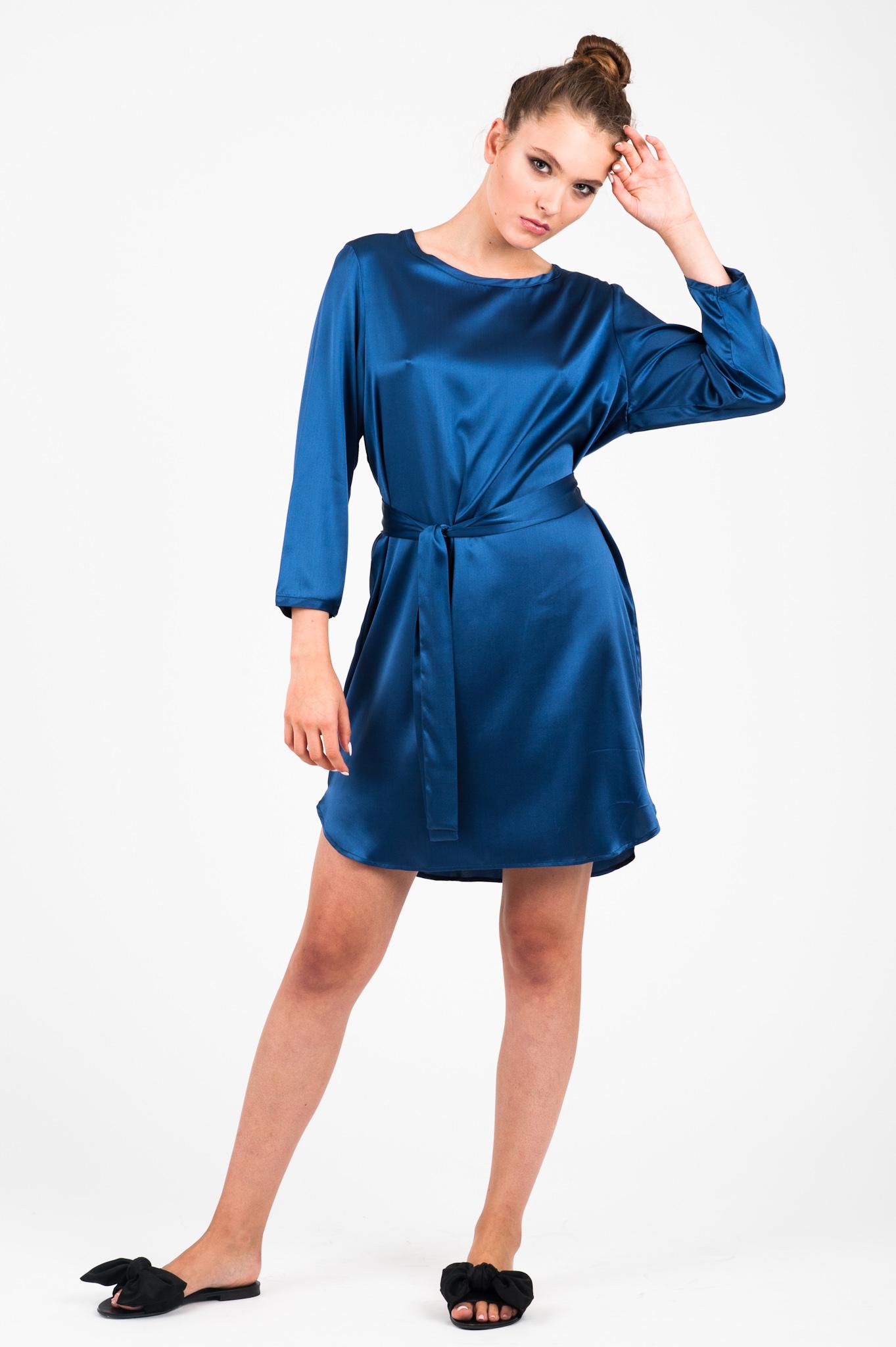 sukienka jedwabna florence niebieska