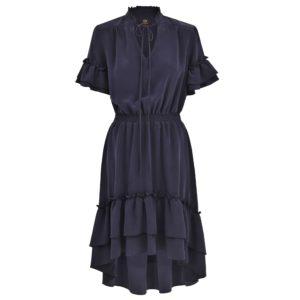 sukienka jedwabna z falbanami Ines