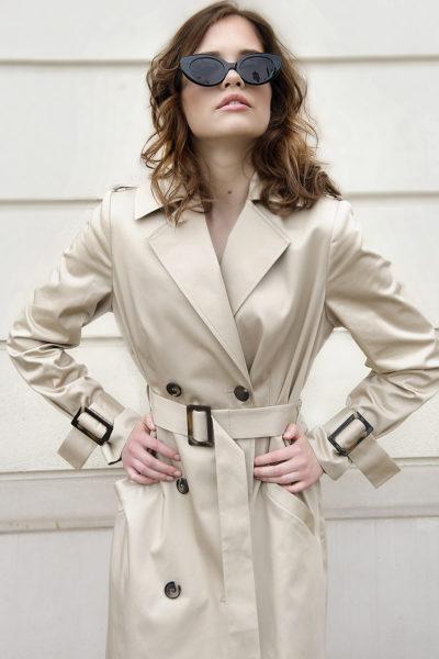 płaszcz trencz bezowy