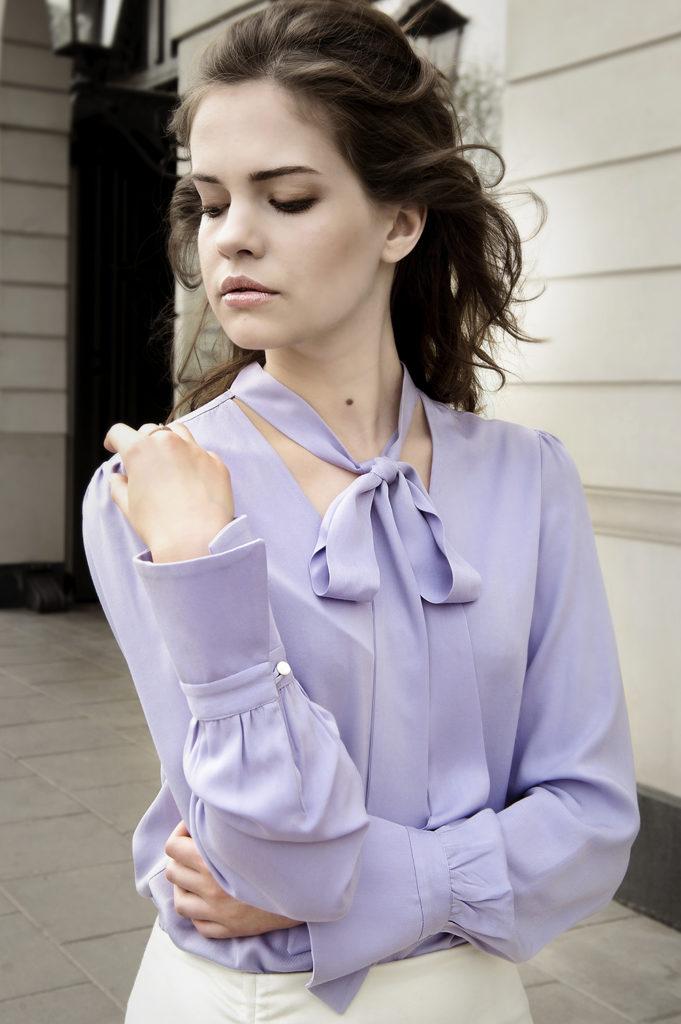 bluzka z wiązaniem lawendowa