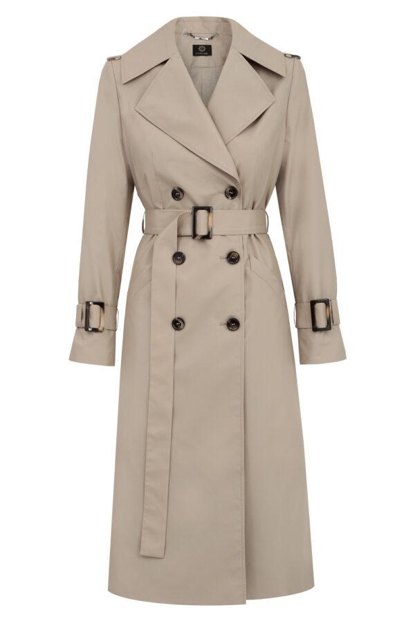 płaszcz trencz beżowy ciemny