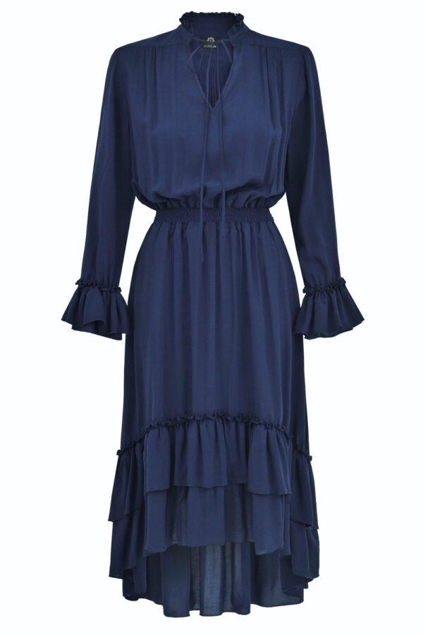 sukienka z falbanami ines granmatowa