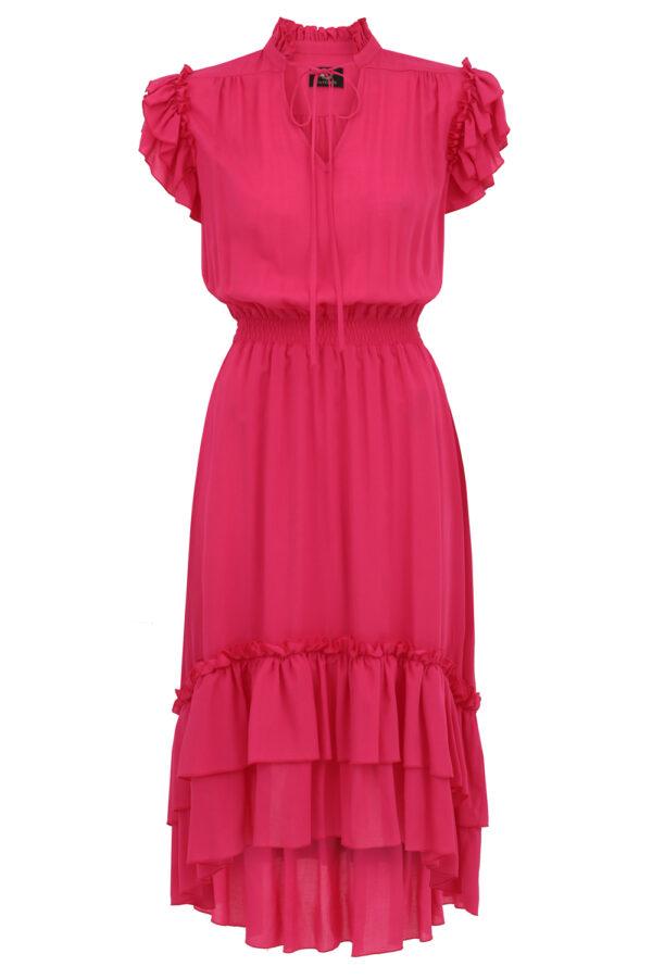 sukienka z falbanami ines fuksja