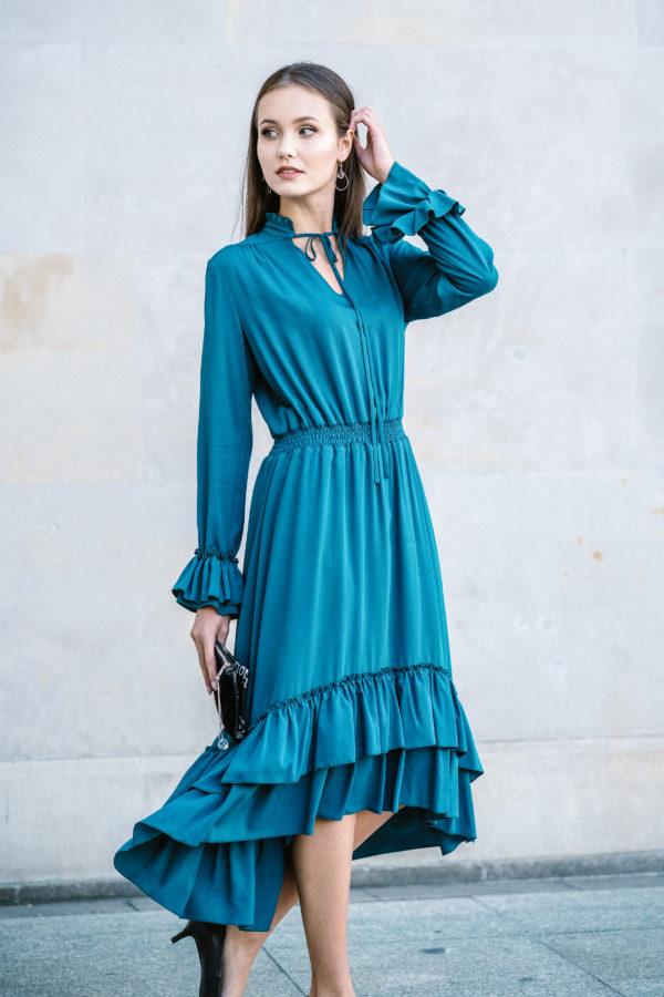 sukienka z falbanami morska