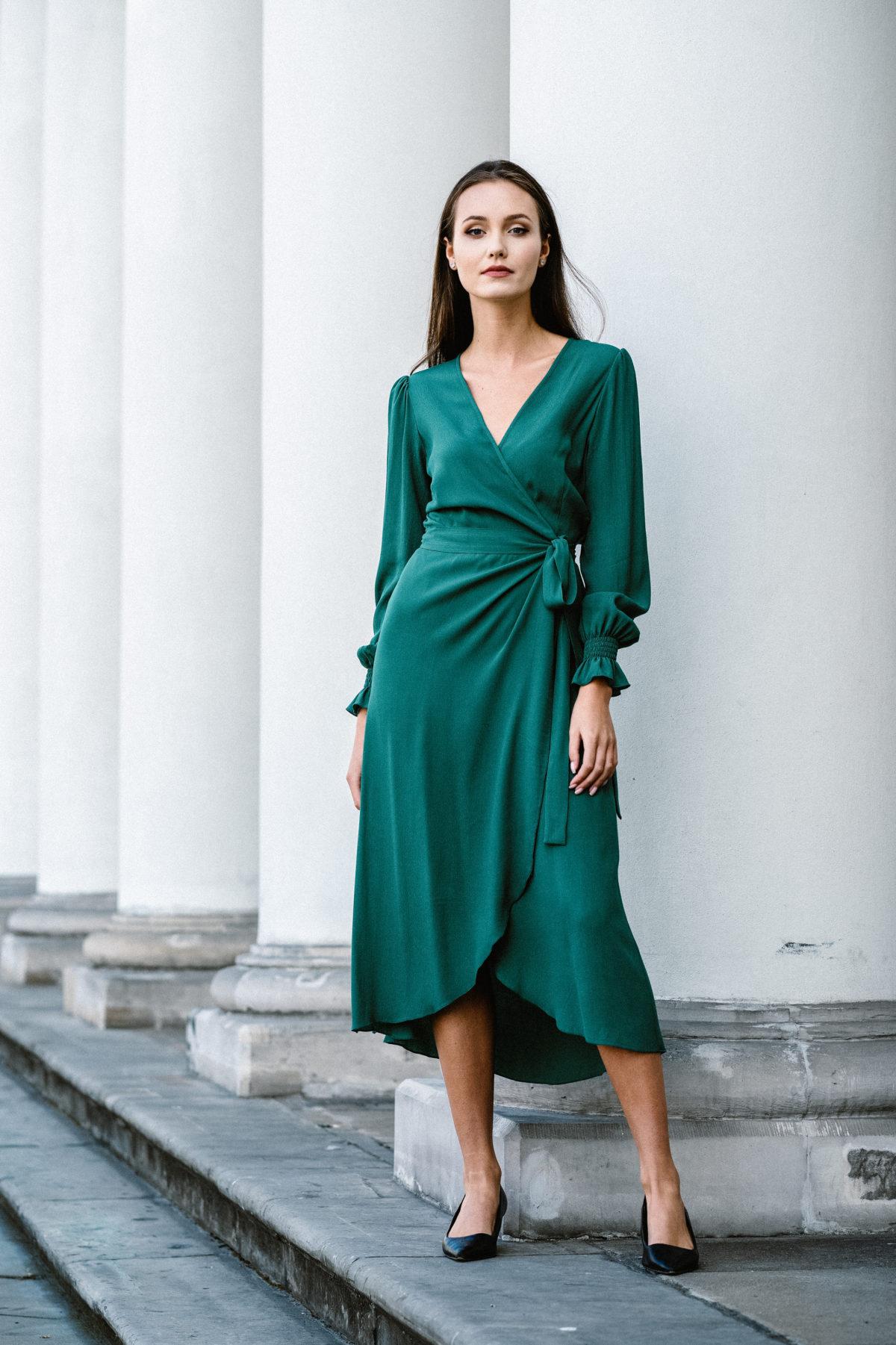 sukienka kopertowa zielona