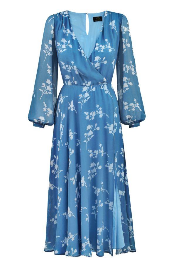 sukienka jedwabna magnolia niebieska