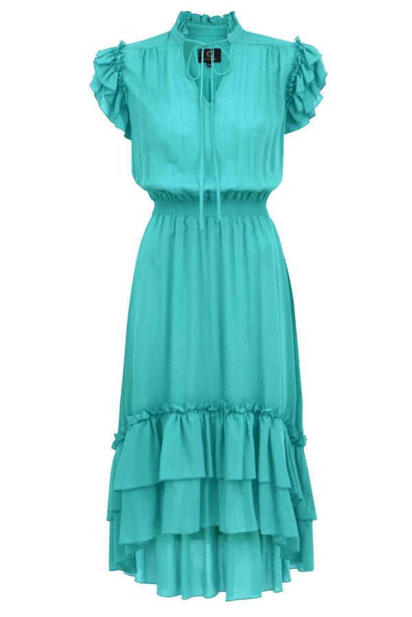 sukienka z falbanami turkusowa