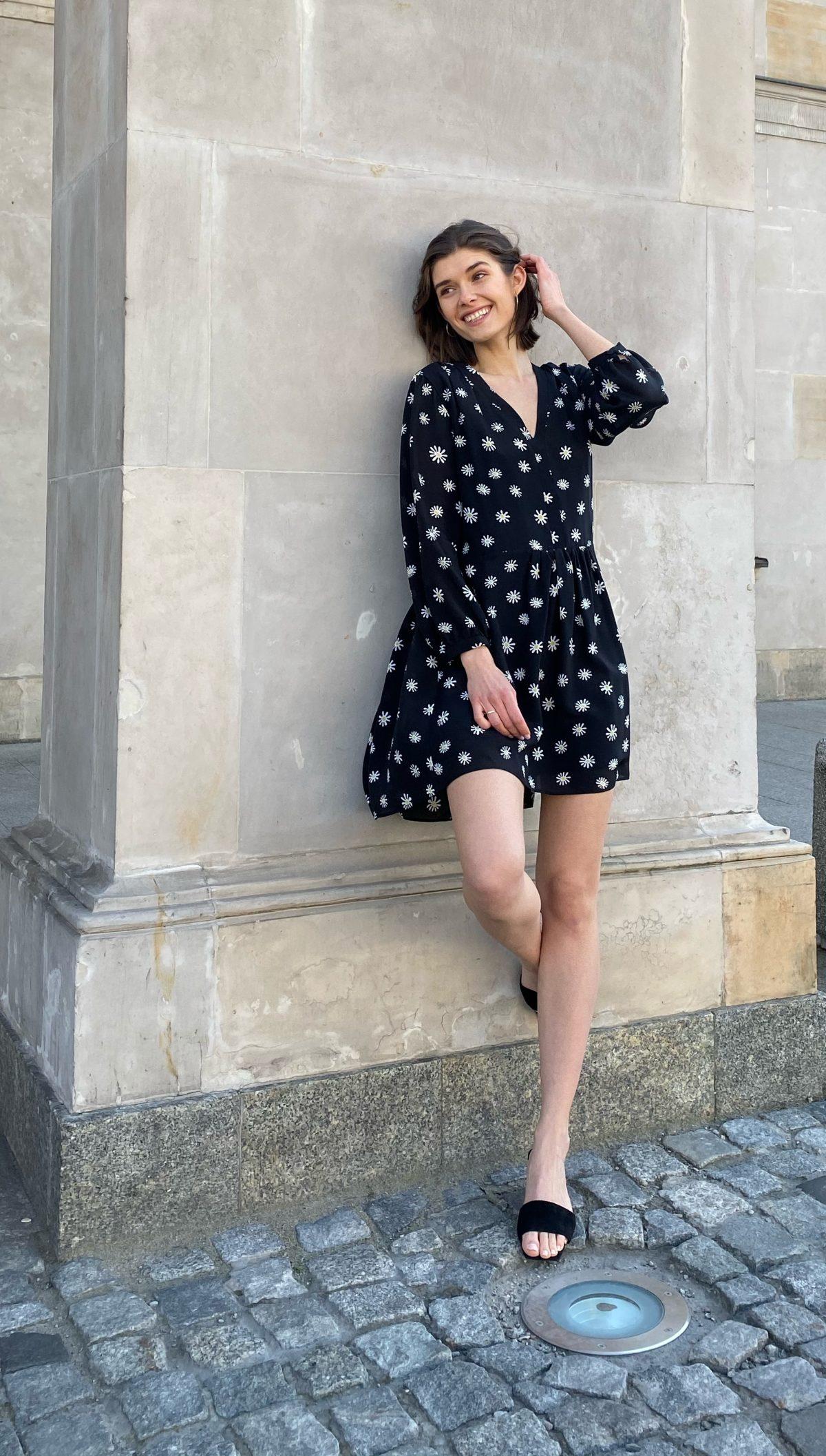 sukienak jedwabna daisy czarna