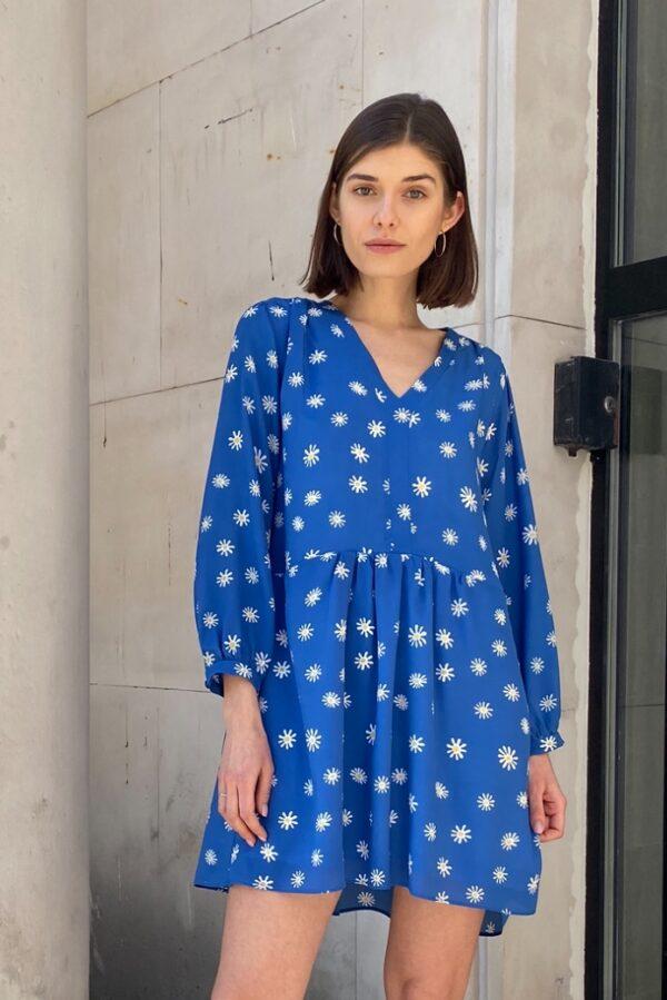 jedwabna sukienka daisy niebieska