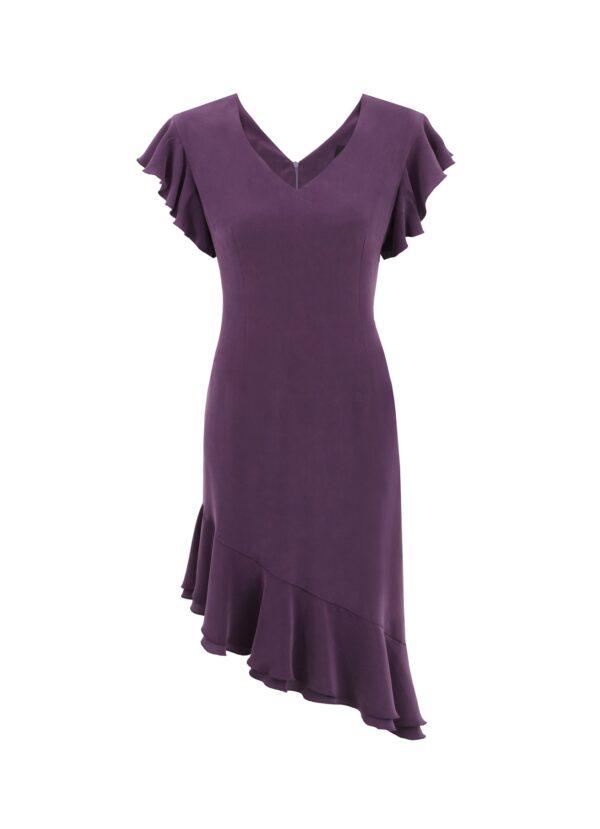 sukienka jedwabna veronique fioletowa