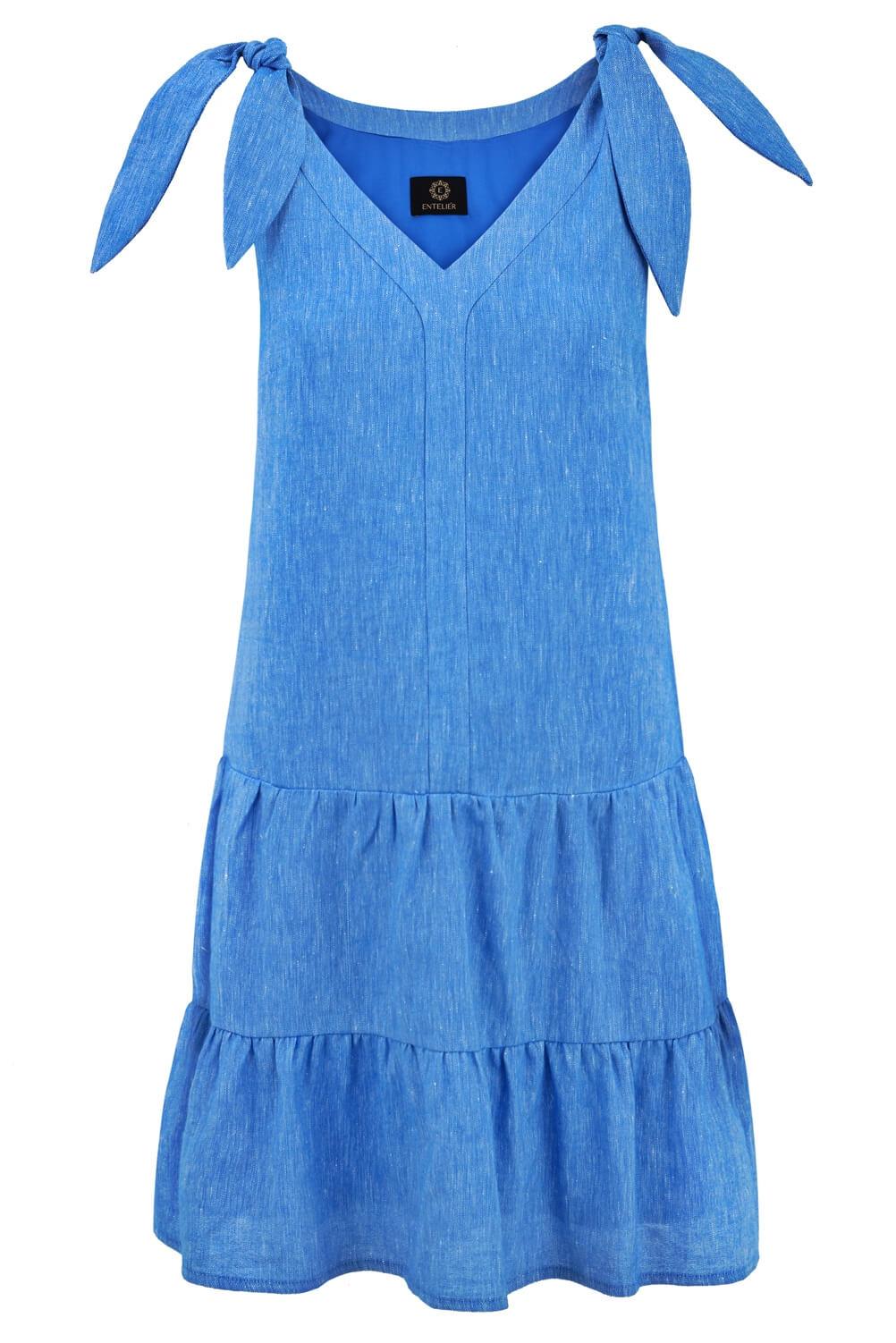 sukienka lniana niebieska