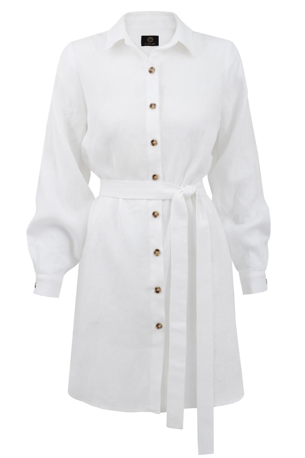 sukienka koszulowa lniana biała