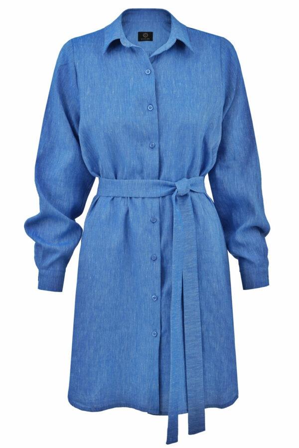 sukienka koszulowa lnianana niebieska