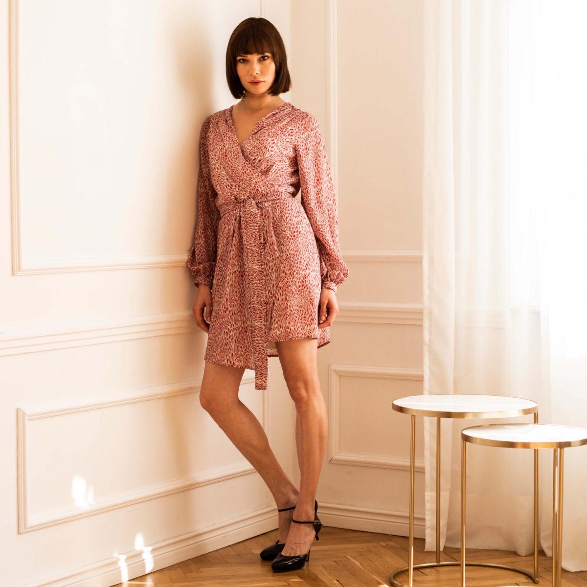 jedwabna sukienka laurel burgund