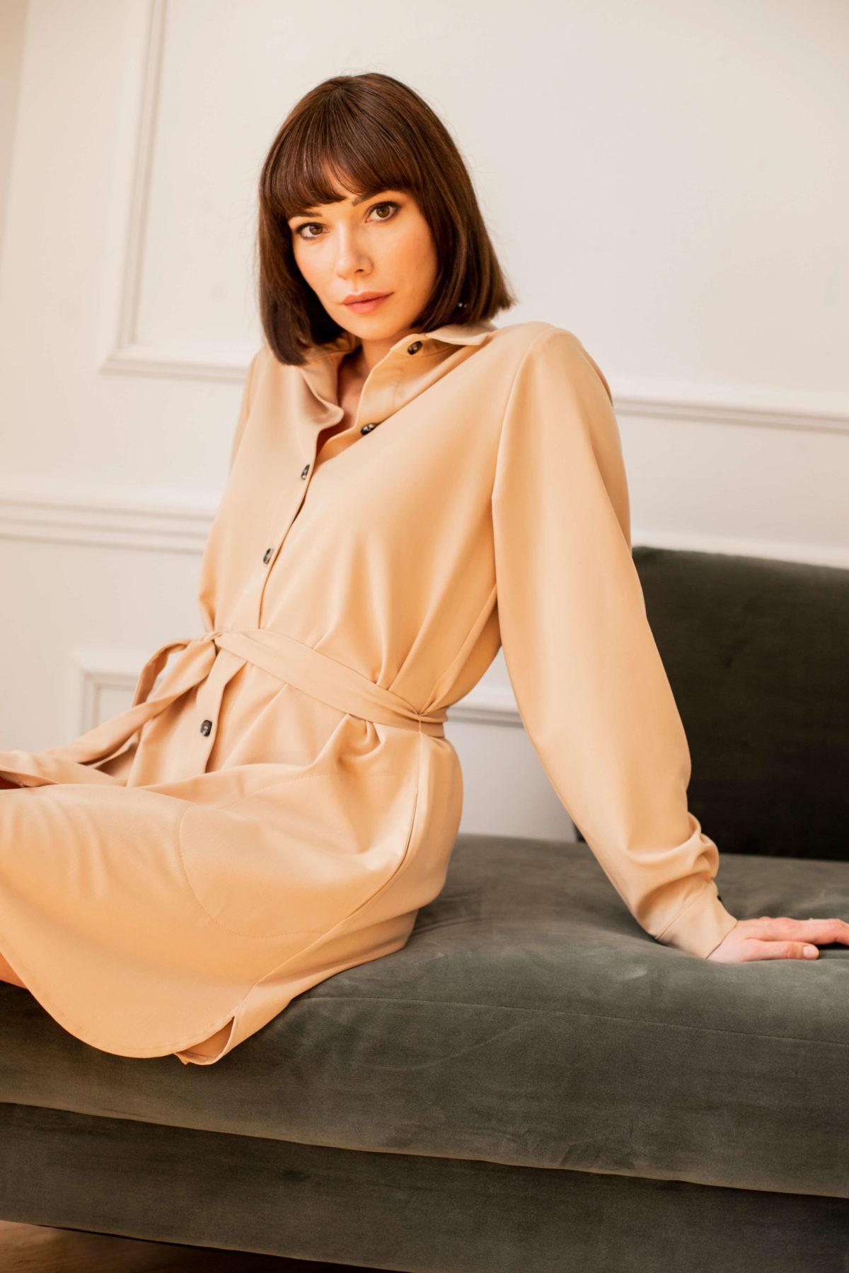 sukienka koszulowa Amelie beżowa
