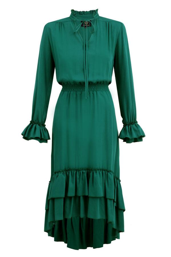 sukienka z falbanami zielona