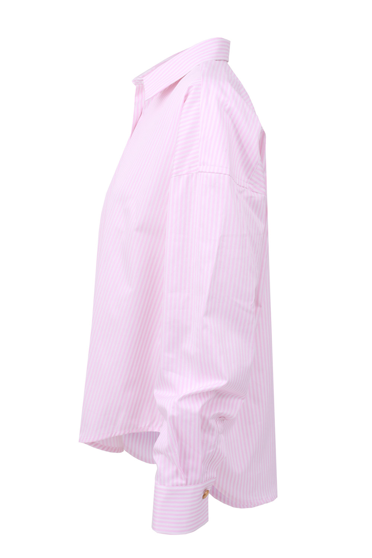 koszula oversize classic różowa w paski
