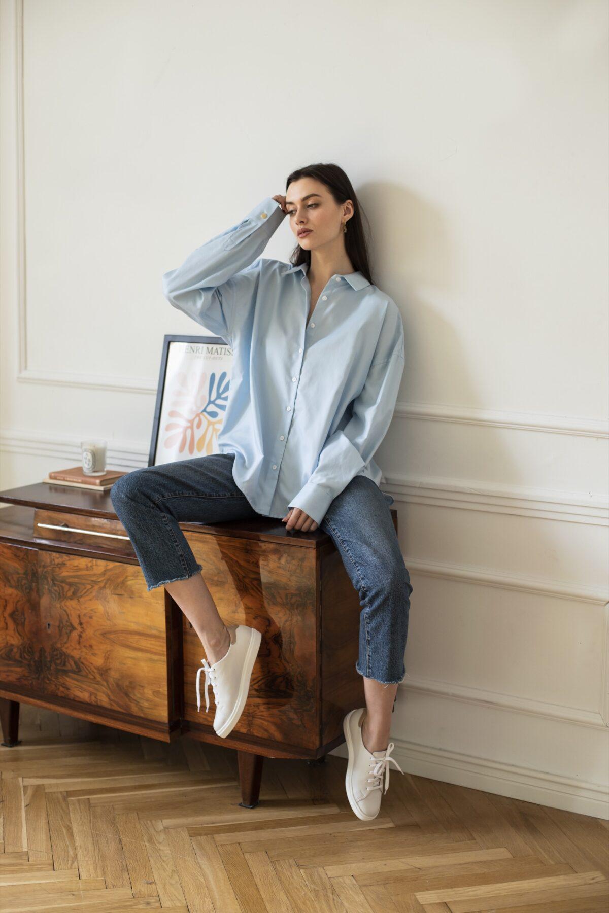 koszula oversize classic błękitna