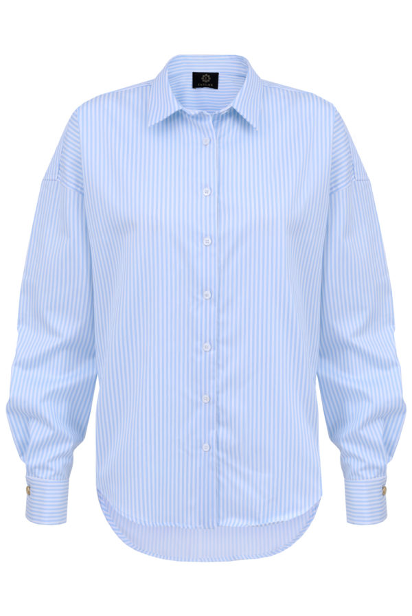 koszula oversize błękitna w paski