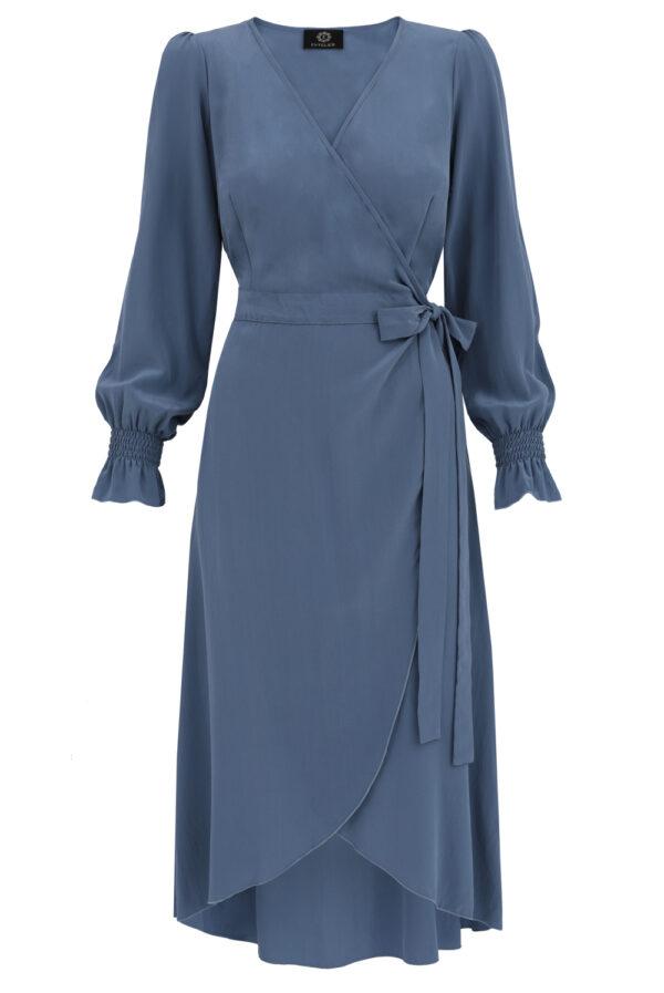 sukienka jedwabna kopertowa niebieska