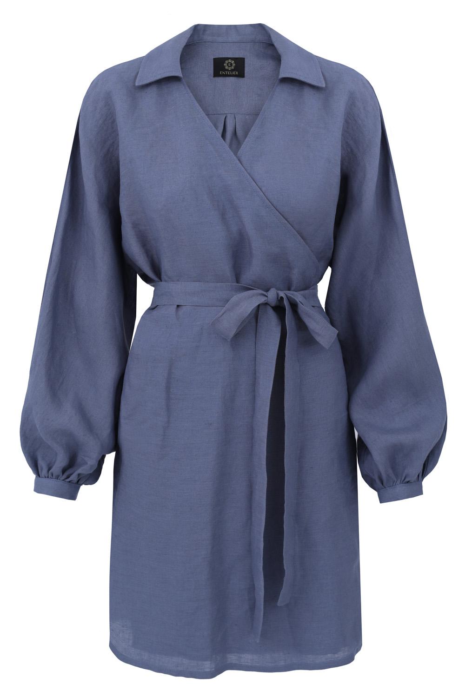 sukienka lniana kimono niebieska