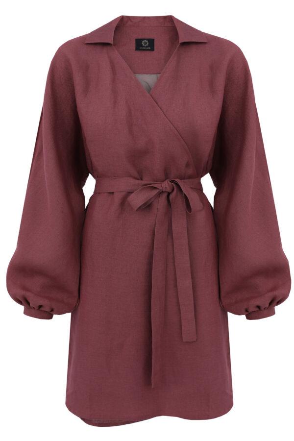 sukienka lniana kimono mineralny róż