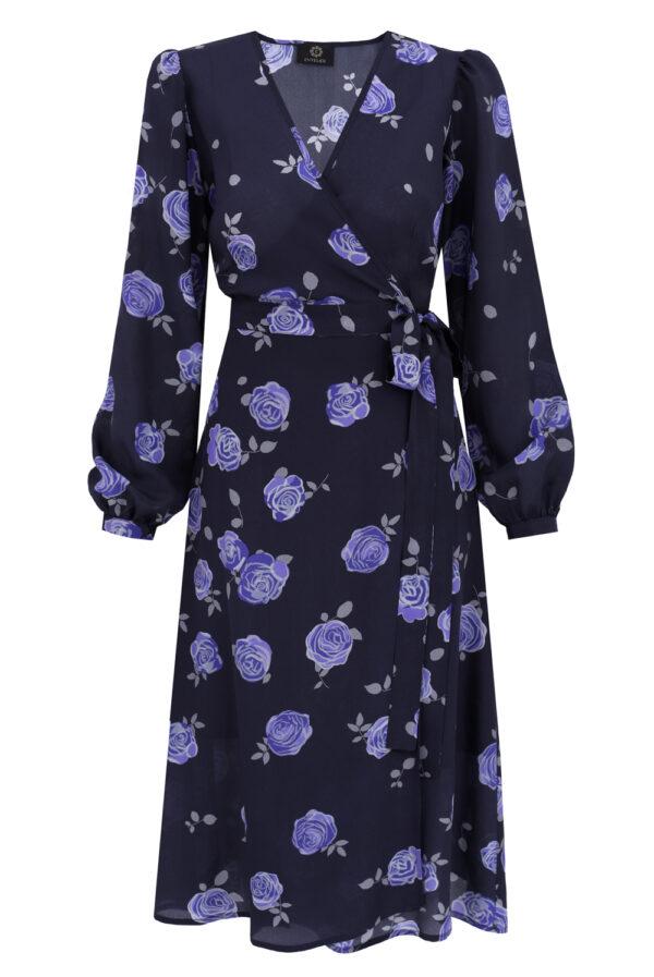 sukienka jedwabna kopertowa w róże