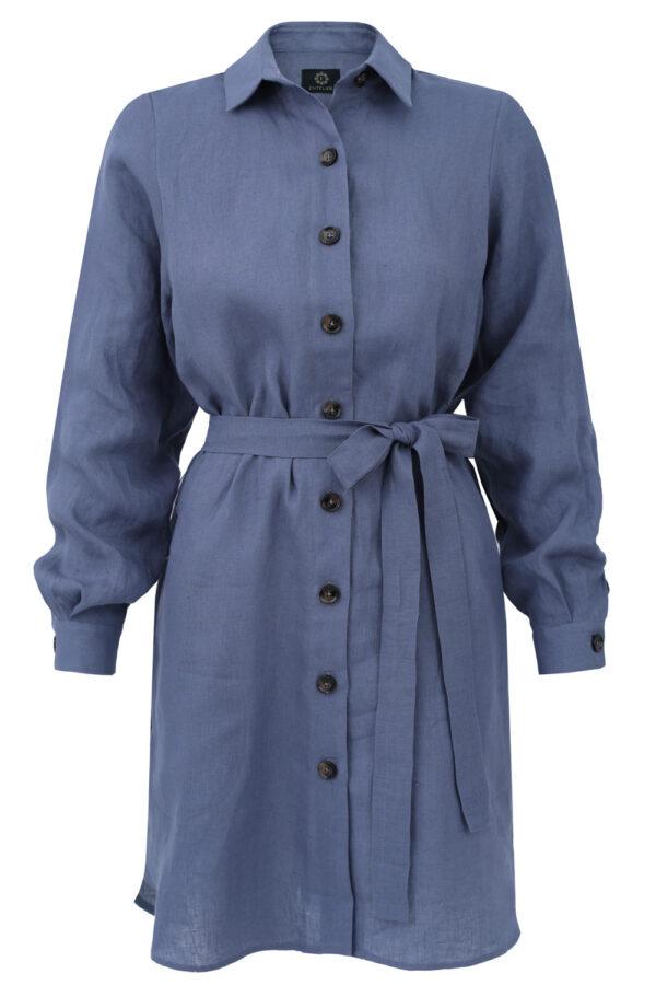 sukienka lniana koszulowa niebieska
