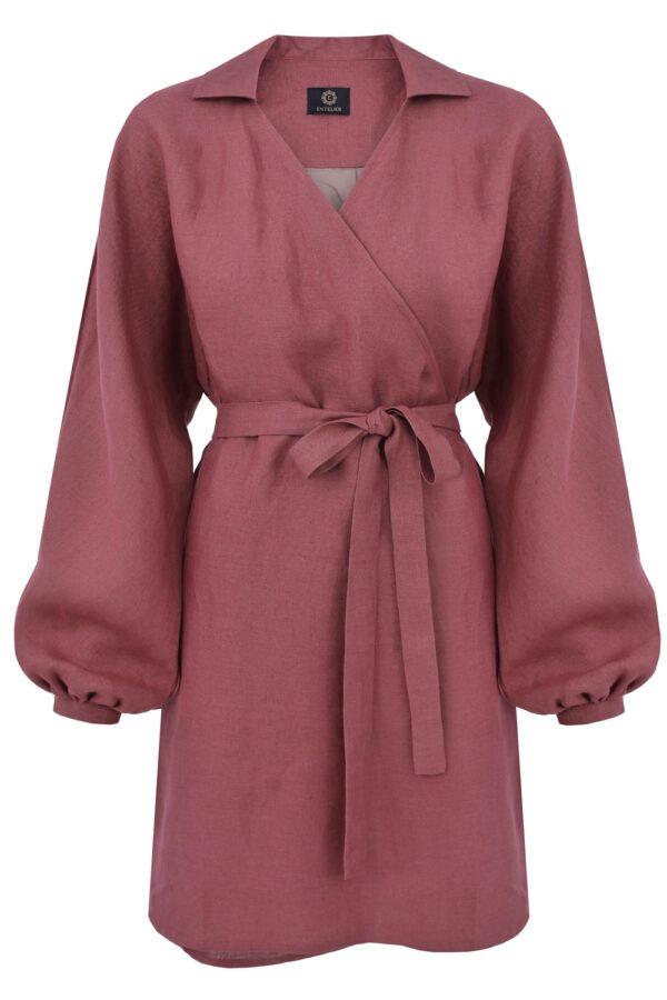 sukienka lniana kimono róż