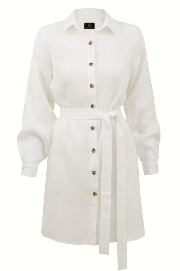 sukienka lniana koszulowa ecru