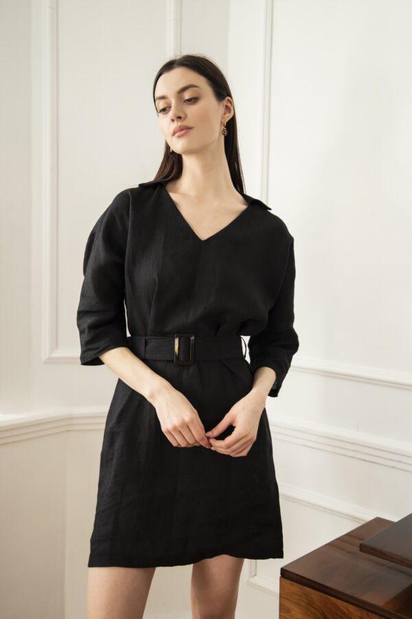 sukienka lniana jolie czarna