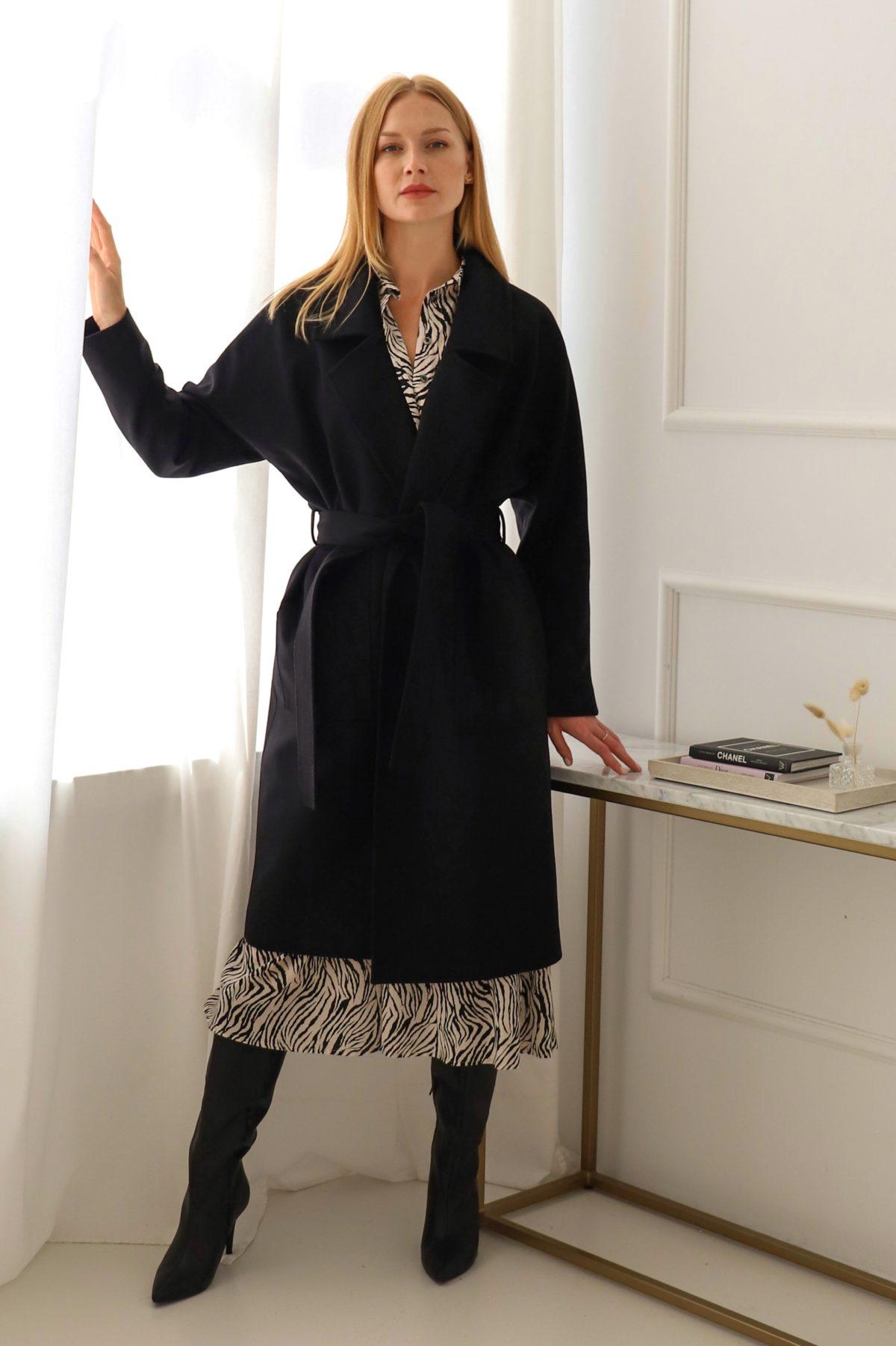 płaszcz oversize kaszmir czarny