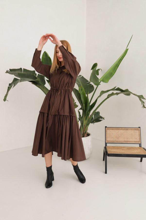 sukienka czekoladowa maxi