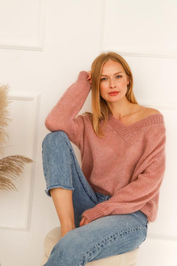 sweter moher róż